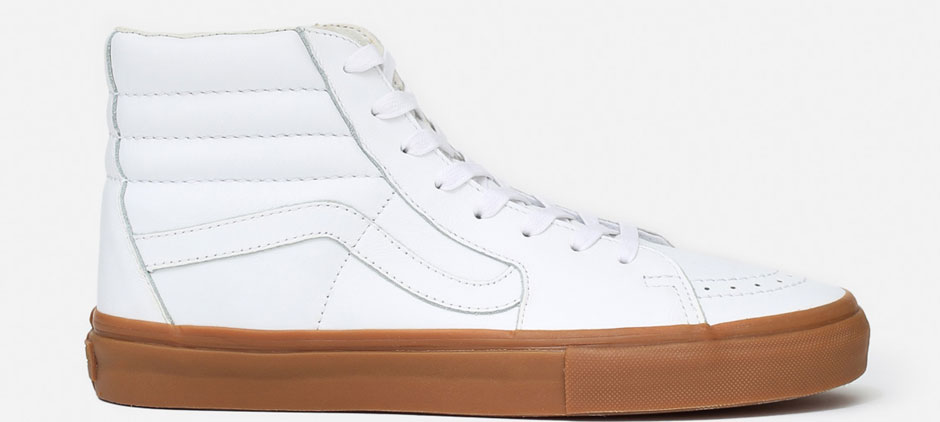 white leather vans gum sole